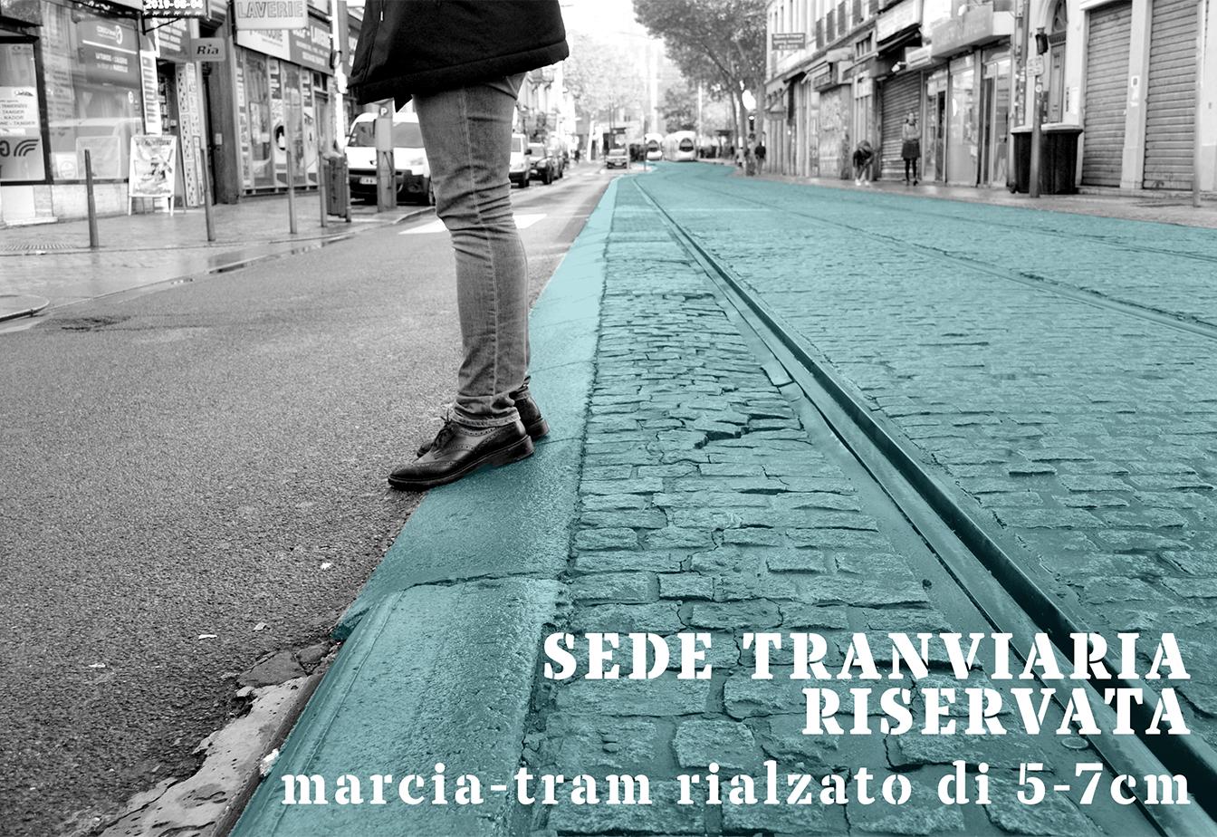 Sede tranviaria riservata - marcia-tram rialzato di 5-7 cm