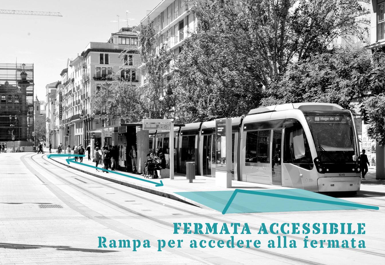 Fermata accessibile - rampa per accedere alla fermata