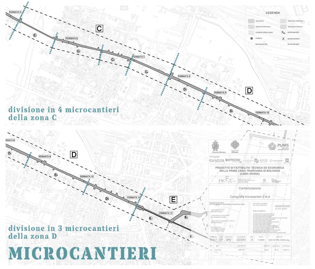 Divisione della zona C in 4 microcantieri, della zona D in 3 microcantieri