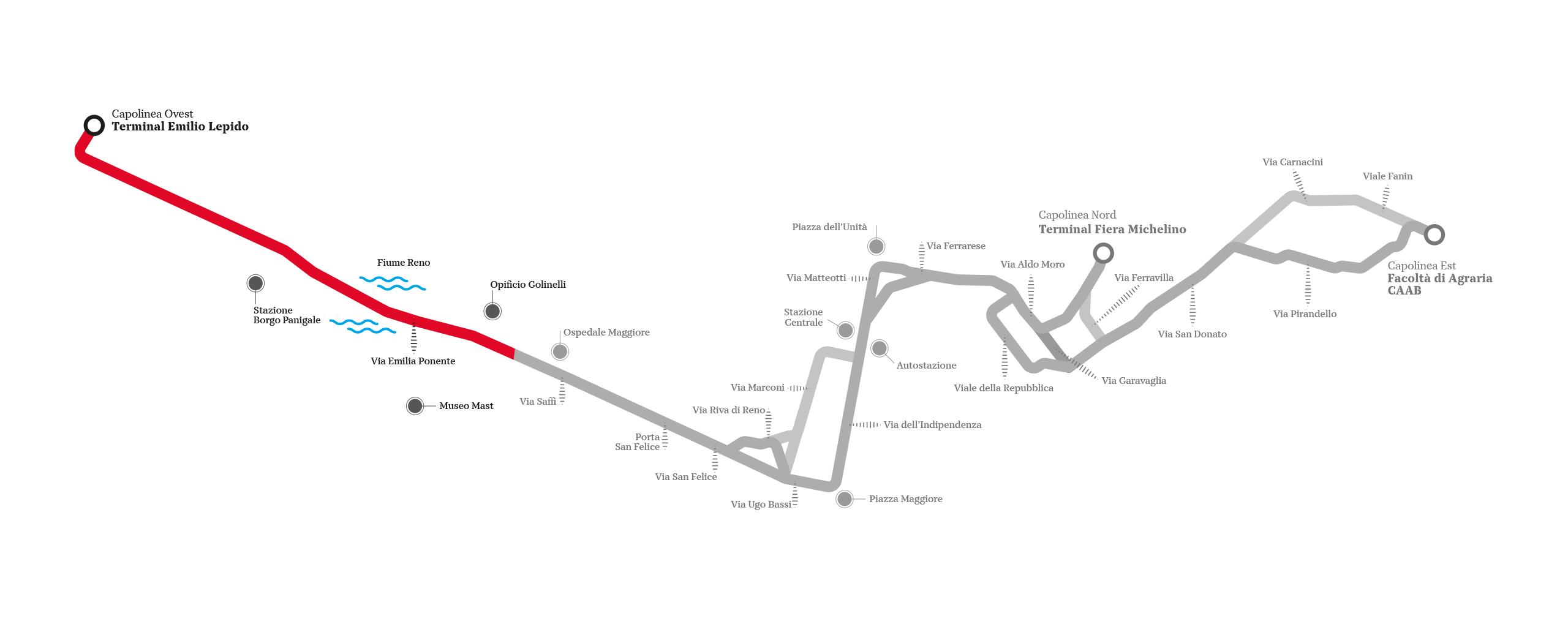 Linea Rossa: tracciato Borgo Panigale - Reno